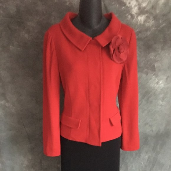 st john knit red jacket blazer size 6